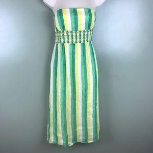 J. Crew strapless linen blend midi dress sz 4